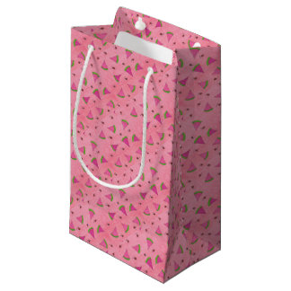 Sacola Para Presentes Pequena Melancia e senhora cor-de-rosa Insetos