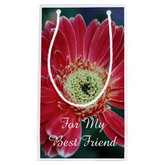 Sacola Para Presentes Pequena Melhor amigo vermelho da flor do Gerbera