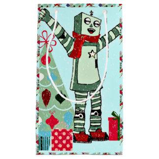 Sacola Para Presentes Pequena Menino & árvore Pastel do robô do feriado do