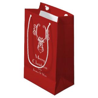Sacola Para Presentes Pequena Mensagem personalizada do Natal rena branca