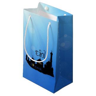 Sacola Para Presentes Pequena Mesquita com Sunrays - saco pequeno de Eid Mubarak