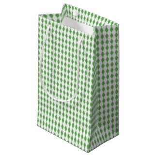 Sacola Para Presentes Pequena Mini branco verde dos diamantes | do Harlequin