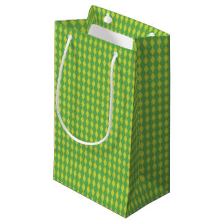 Sacola Para Presentes Pequena Mini verde dos diamantes | do Harlequin