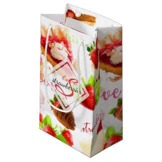 Sacola Para Presentes Pequena Monograma do amor dos doces da morango da aguarela