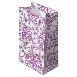 Sacola Para Presentes Pequena Motivo cor-de-rosa romântico do vintage