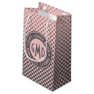 Sacola Para Presentes Pequena Na moda cinzento cor-de-rosa milenar do monograma