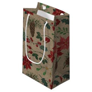 Sacola Para Presentes Pequena Natal botânico tradicional