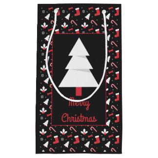 Sacola Para Presentes Pequena Natal branco do quadro da árvore