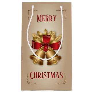 Sacola Para Presentes Pequena Natal de Bels douradas