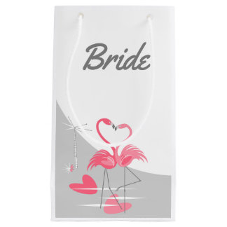 Sacola Para Presentes Pequena Noiva da lua do amor do flamingo grande pequena