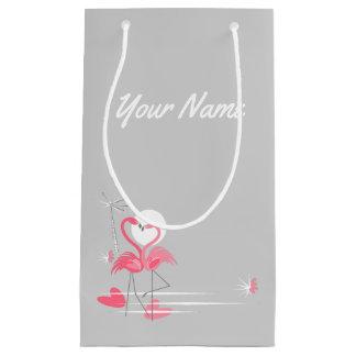 Sacola Para Presentes Pequena Nome do lado do amor do flamingo pequeno