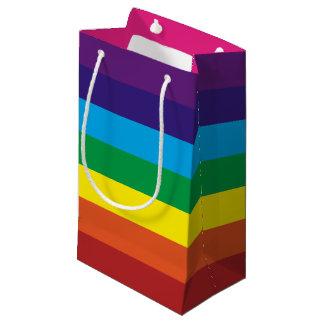 Sacola Para Presentes Pequena O arco-íris colorido listra fontes do partido do