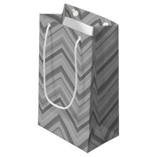Sacola Para Presentes Pequena O cinza listra o teste padrão de ziguezague
