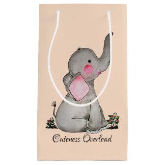 Sacola Para Presentes Pequena O elefante bonito do bebê da aguarela com cora &