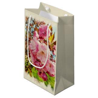 Sacola Para Presentes Pequena O rosa floresce o saco pequeno do presente