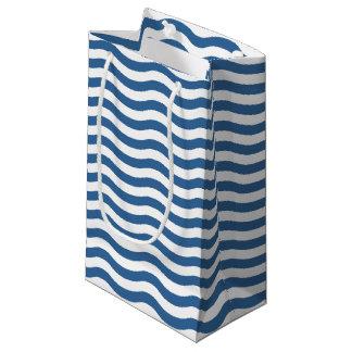 Sacola Para Presentes Pequena O teste padrão azul branco do marinho da onda
