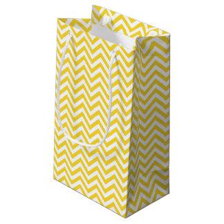 Sacola Para Presentes Pequena O ziguezague amarelo e branco listra o teste