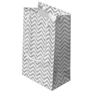 Sacola Para Presentes Pequena O ziguezague elegante da folha de prata listra o