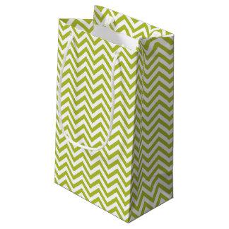 Sacola Para Presentes Pequena O ziguezague verde e branco listra o teste padrão