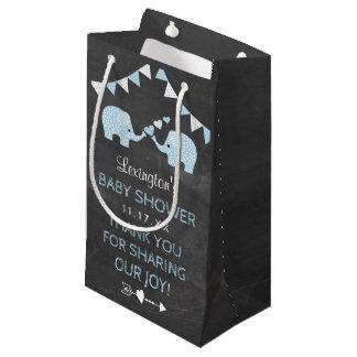 Sacola Para Presentes Pequena Obrigado azul do chá de fraldas dos elefantes dos