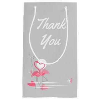Sacola Para Presentes Pequena Obrigado do lado do amor do flamingo você pequeno