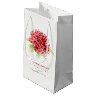 Sacola Para Presentes Pequena Obrigado vermelho da arte da flor do waratah você
