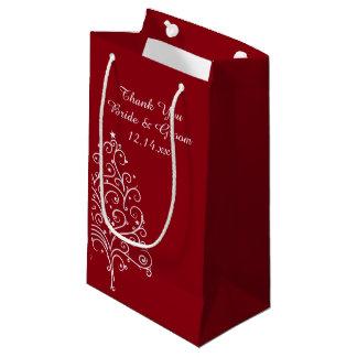 Sacola Para Presentes Pequena Obrigado vermelho do casamento no inverno da