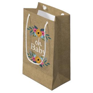 Sacola Para Presentes Pequena Oh bebê! Chá de fraldas floral rústico da grinalda