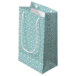 Sacola Para Presentes Pequena Ornamento floral de verde azul - saco do presente