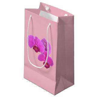 Sacola Para Presentes Pequena Orquídeas cor-de-rosa