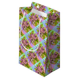 Sacola Para Presentes Pequena Orquídeas cor-de-rosa coloridas