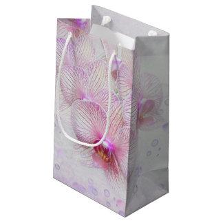 Sacola Para Presentes Pequena orquídeas e bolhas cor-de-rosa