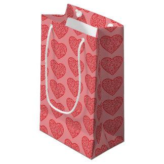 Sacola Para Presentes Pequena Os corações vermelhos dos namorados