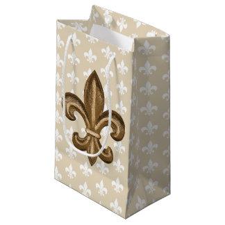 Sacola Para Presentes Pequena Ouro de Nola & flor de lis francesa branca