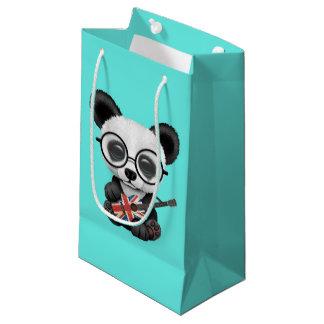 Sacola Para Presentes Pequena Panda do bebê que joga a guitarra britânica da