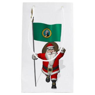 Sacola Para Presentes Pequena Papai Noel com a bandeira de Washington