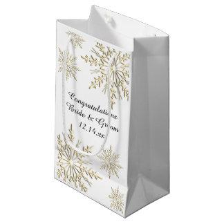 Sacola Para Presentes Pequena Parabéns do casamento no inverno dos flocos de
