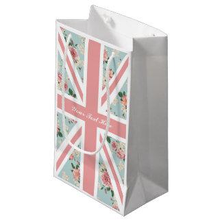 Sacola Para Presentes Pequena Partido floral de Union Jack dos rosas ingleses