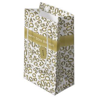Sacola Para Presentes Pequena Personalize:  50th preto feliz do aniversário/ouro