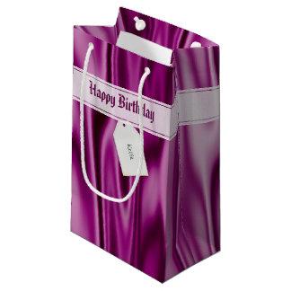 "Sacola Para Presentes Pequena Personalize ""o feliz aniversario"" no cetim da"