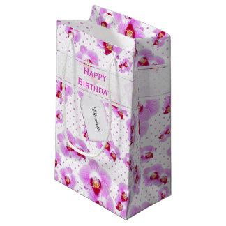 Sacola Para Presentes Pequena Personalize:  Orquídea floral do roxo da