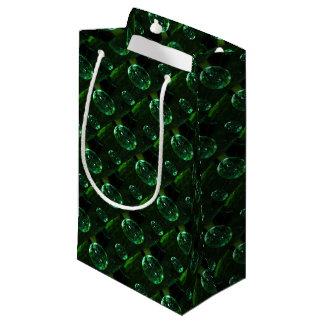 Sacola Para Presentes Pequena Pingo de chuva do vidro verde