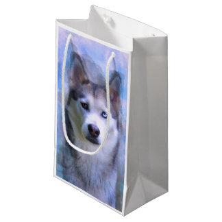 Sacola Para Presentes Pequena Pintura da arte da cor de água do cão do rouco