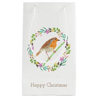 Sacola Para Presentes Pequena Pisco de peito vermelho o pássaro do Natal
