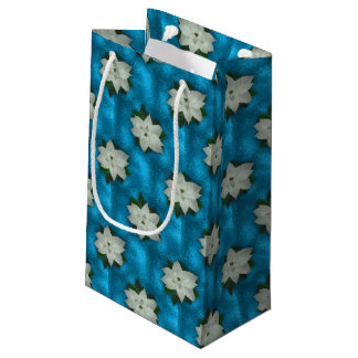 Sacola Para Presentes Pequena Poinsétia branca & hortaliças do Natal bonito