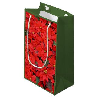 Sacola Para Presentes Pequena Poinsétias vermelhas mim foto floral do feriado do
