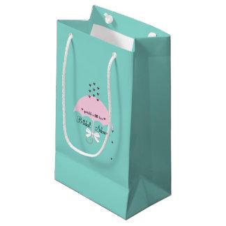 Sacola Para Presentes Pequena Polvilhe o saco do presente do partido de chá azul