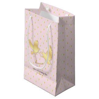 Sacola Para Presentes Pequena Pombas douradas com um coração dourado, amor