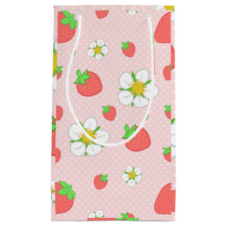 Sacola Para Presentes Pequena Pontos da morango no rosa