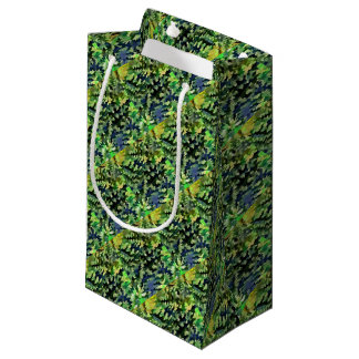 Sacola Para Presentes Pequena Pop art abstrato da folha em verde e no azul